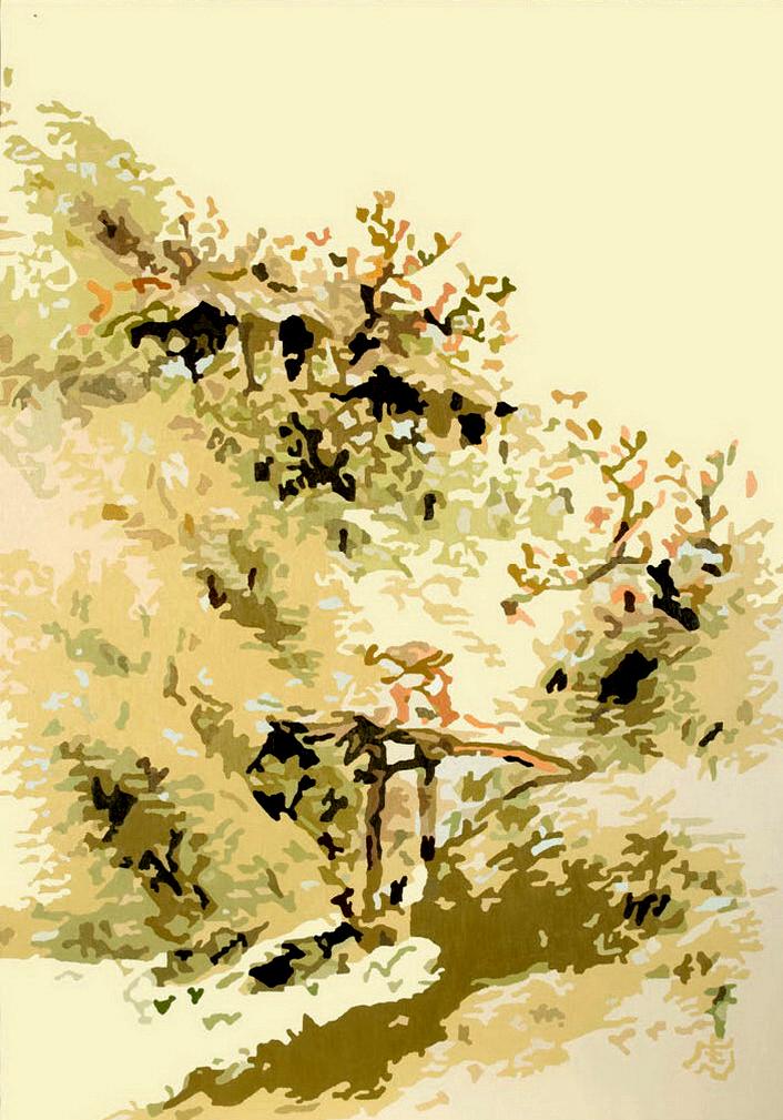 四季山水-春景, 112.2x162.1cm, oil on canvas, 2007.jpg